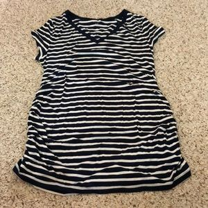 Maternity top, navy and white, size XL